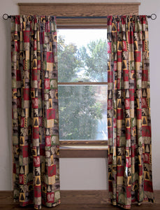 Cabin In The Woods Cotton Printed Lined Drape Set
