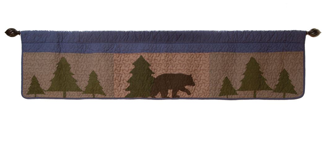 Bear & Basket Quilted Window Valance