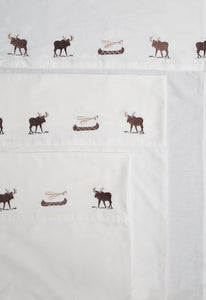 Embroidered Moose Sheet Set 100% Cotton