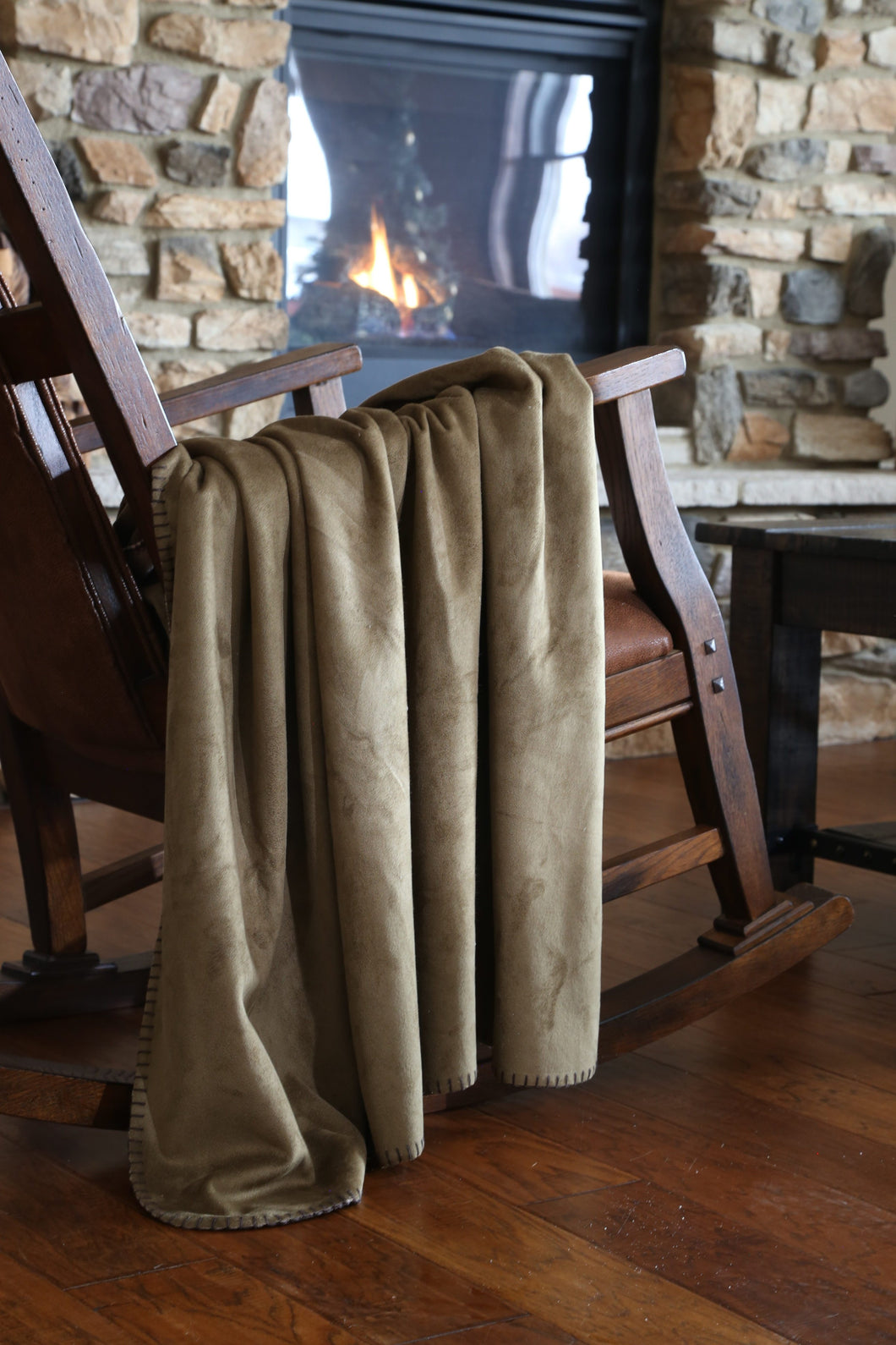 Olive Suede Throw