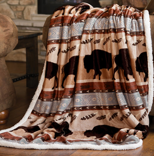 Wrangler Buffalo Southwestern Sherpa Fleece Throw Blanket