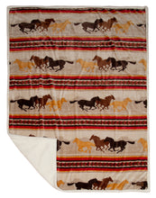 Load image into Gallery viewer, Wrangler Running Horse Country Sherpa Fleece Throw Blanket
