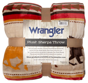 Wrangler Running Horse Country Sherpa Fleece Throw Blanket