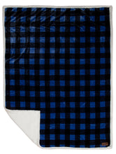 Load image into Gallery viewer, Wrangler Blue Lumberjack Buffalo Plaid Sherpa Fleece Throw Blanket