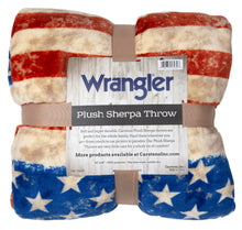 Load image into Gallery viewer, Wrangler Stars & Stripes USA American Flag Sherpa Fleece Throw Blanket