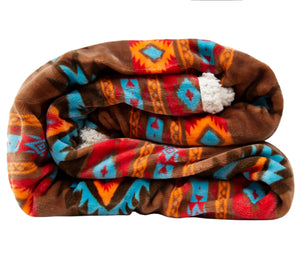 Wrangler Southwest Horizon Sherpa Fleece Throw Blanket