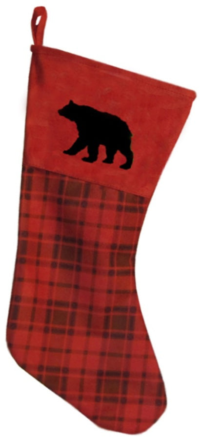 Red plaid bear stocking
