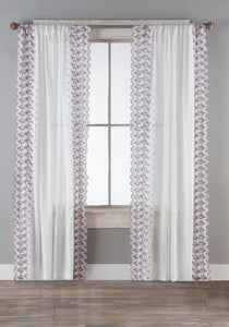 Lace Curtain Panels Set of 2 (Each 54x84), Floral Border