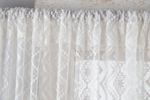 Lace Curtain Panels Set of 2 (Each 54x84), Sheer Diamond