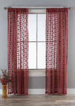 Load image into Gallery viewer, Lace Curtain Panels Set of 2 (Each 54x84), Garnet Diamond