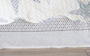 Gathered Lace Bed Skirt, White Eyelet