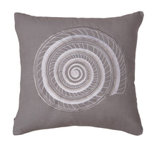 "Load image into Gallery viewer, Grey Embroidered Shell Decorative Pillow 18"" x 18"""
