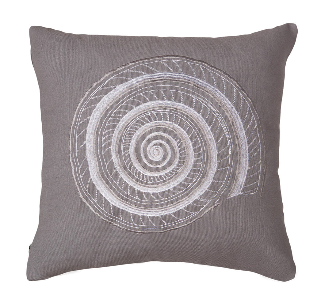 Grey Embroidered Shell Decorative Pillow 18