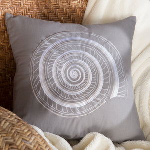 "Grey Embroidered Shell Decorative Pillow 18"" x 18"""
