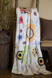 Wildflowers Sherpa Plush Throw