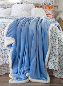 Periwinkle Sherpa Plush Throw