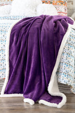 Load image into Gallery viewer, Purple Sherpa Plush Throw