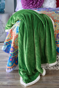 Green Sherpa Plush Throw