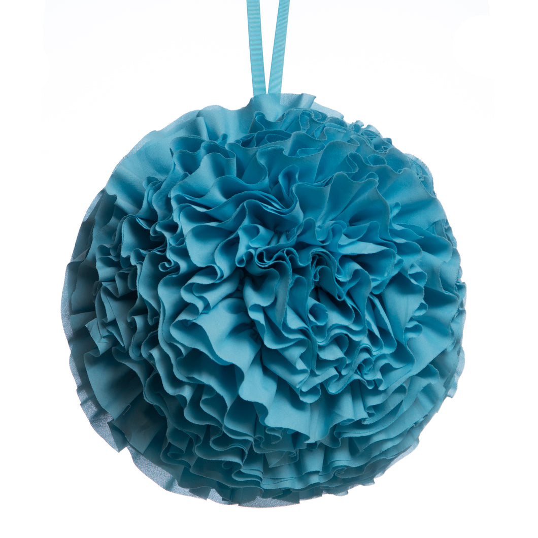 Turquoise Ruffled Ball Pillow
