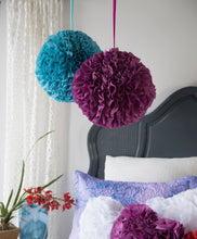 Load image into Gallery viewer, Turquoise Ruffled Ball Pillow