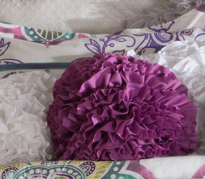 Orchid Ruffled Ball Pillow