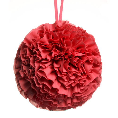 Rose Ruffled Ball Pillow