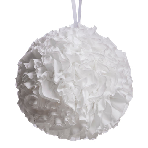 White Ruffled Ball Pillow