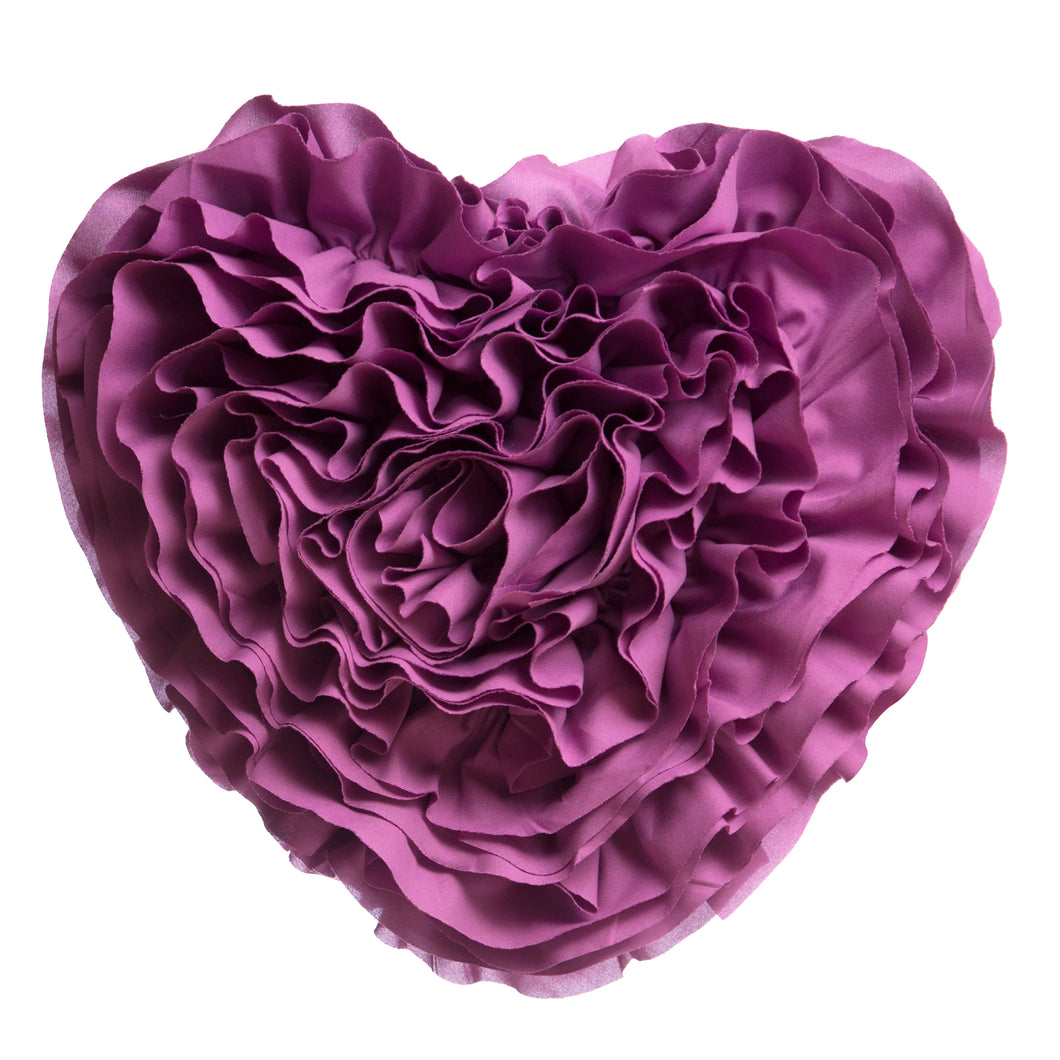 Orchid Ruffled Heart Pillow