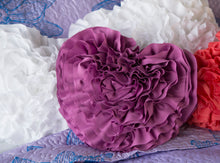 Load image into Gallery viewer, Orchid Ruffled Heart Pillow