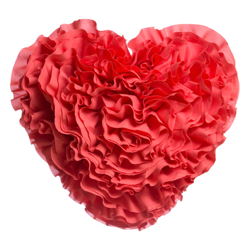 Rose Ruffled Heart Pillow