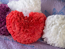 Load image into Gallery viewer, Rose Ruffled Heart Pillow
