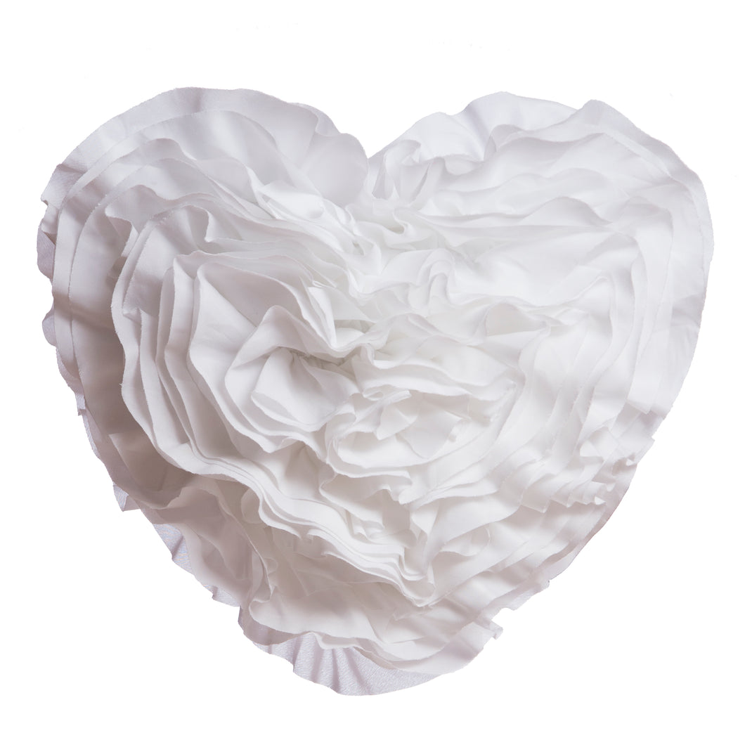 White Ruffled Heart Pillow