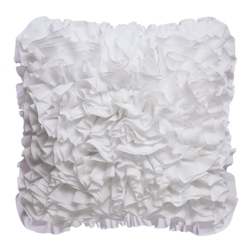 White Ruffled Square Pillow