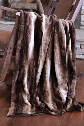 Brown Striped Chinchilla Faux Fur Throw