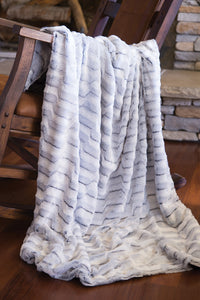 Grey Striped Rabbit Faux Fur Throw