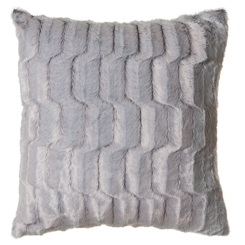 Grey Striped Rabbit Faux Fur Pillow