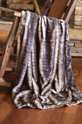 Dark Grey Fox Faux Fur Throw