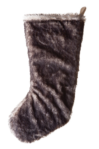 Dark Grey Fox Faux Fur Stocking