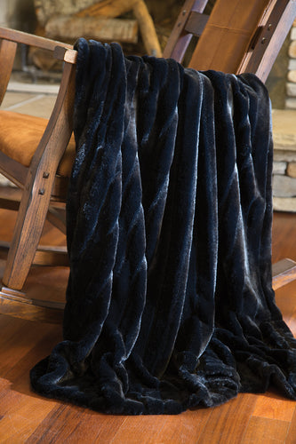 Black Striped Mink Faux Fur Throw
