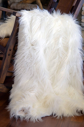 White Mongolian Faux Fur Throw