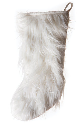 White Mongolian Faux Fur Stocking