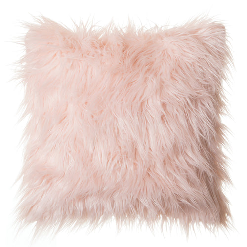 Pink Mongolian Faux Fur Pillow