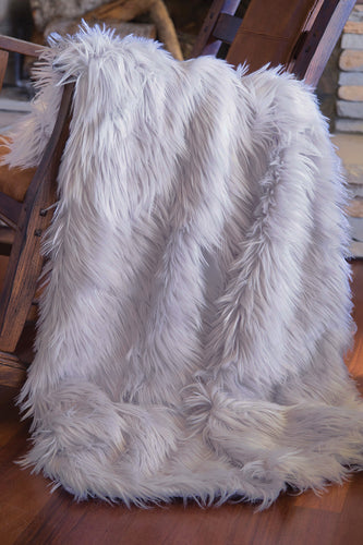 Silver Mongolian Faux Fur Throw