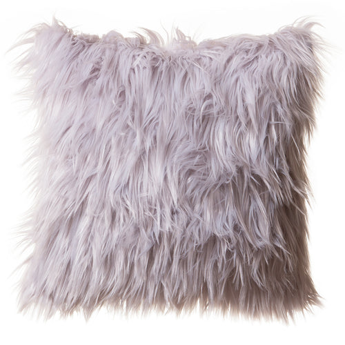 Silver Mongolian Faux Fur Pillow