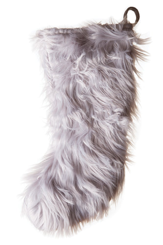 Silver Mongolian Faux Fur Stocking