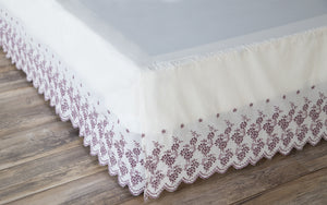 Gathered Lace Bed Skirt, Floral Border