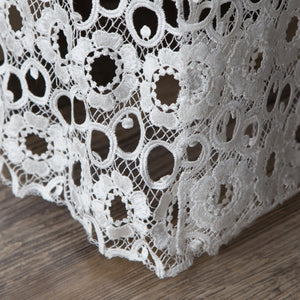 Gathered Lace Bed Skirt, Flower Lace