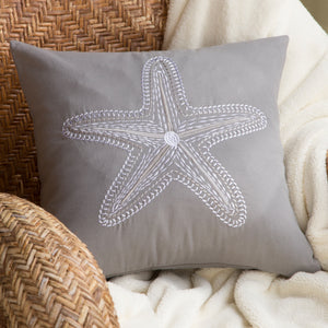 Grey Embroidered Starfish Pillow