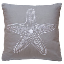 Load image into Gallery viewer, Grey Embroidered Starfish Pillow