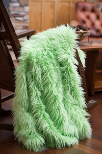 Lime Mongolian Faux Fur Throw